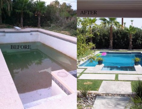 Pool and Backyard Before and After