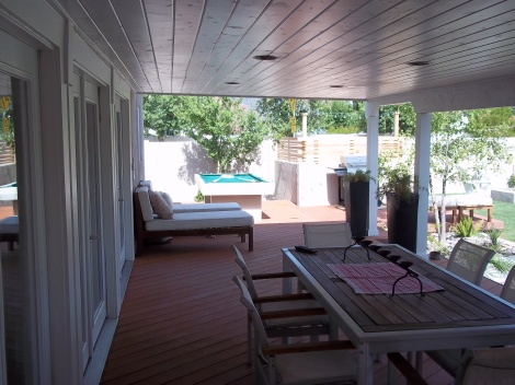 Composite deck and tongue and groove ceiling